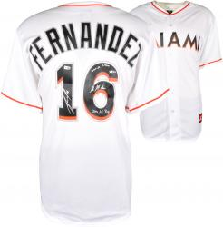 Jose Fernandez Miami Marlins Autographed Majestic Replica White Home Jersey with Multiple Inscriptions - Limited Edition of 16 - Mounted Memories