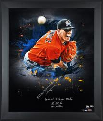 Jose Fernandez Miami Marlins Framed Autographed 20'' x 24'' In Focus Photograph with Multiple Inscriptions - Limited Edition of 16 - Mounted Memories