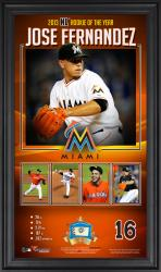 Jose Fernandez Miami Marlins 2013 National League Rookie of the Year Award 10'' x 18'' Framed Collage with Game-Used Baseball - Limited Edition of 500 - Mounted Memories