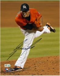 Jose Fernandez Miami Marlins Autographed 8'' x 10'' Orange Uniform Photograph