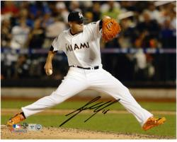 Jose Fernandez Miami Marlins Autographed 8'' x 10'' Horizontal White Uniform Photograph - Mounted Memories