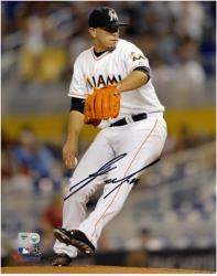 Jose Fernandez Miami Marlins Autographed 8'' x 10'' Vertical White Uniform Photograph - Mounted Memories