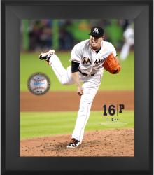 "Jose Fernandez Miami Marlins Framed 20"" x 24"" Gamebreaker Photograph with Game-Used Ball"