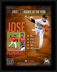 Jose Fernandez Miami Marlins 2013 National League Rookie of the Year Award Sublimated 10.5'' x 13'' Plaque - Mounted Memories