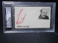 FERRIS TAYLOR (d) 1961 RARE SIGNED AUTO 3X5 INDEX CARD PSA/DNA 83107906