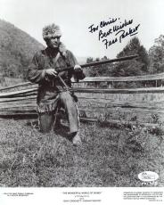 FESS PARKER HAND SIGNED 8x10 PHOTO       DAVY CROCKETT        TO CHRIS       JSA