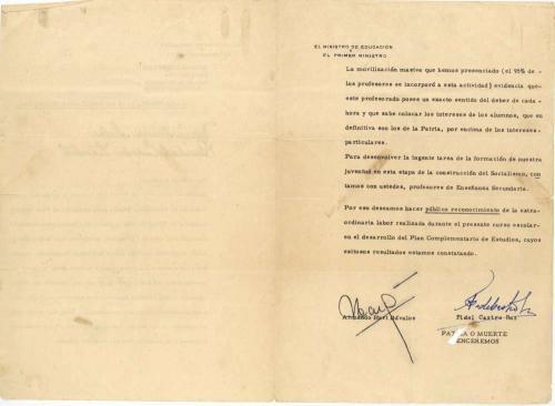 Fidel Castro Signed Autographed 1964 Cuban Document Beckett BAS