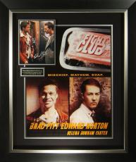 Fight Club Brad Pitt & Edward Norton Signed Poster Frame
