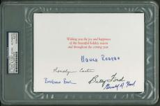 First Ladies Signed Autographed 4x6 Holiday Card Reagan Bush Carter Ford PSA/DNA