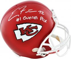 Eric Fisher Kansas City Chiefs Autographed Riddell Replica Helmet with #1 Overall Pick Inscription - Mounted Memories