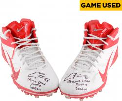 FISHER, ERIC AUTO (KC CHIEFS) GAME USED RED PAIR CLEATS - Mounted Memories