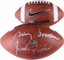Jimbo Fisher & Bobby Bowden Florida State Seminoles (FSU) Dual Autographed Football  - - Mounted Memories