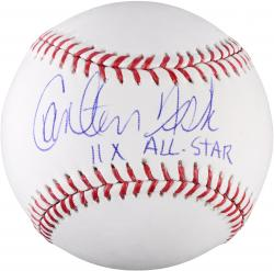 Carlton Fisk Boston Red Sox Autographed Baseball with HOF, 11 x All-Star Inscription