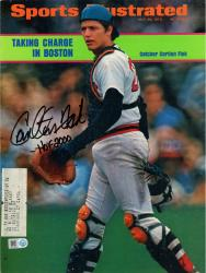 Carlton Fisk Boston Red Sox Autographed Sports Illustrated Taking Charge Magazine with HOF 00 Inscription