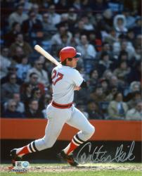 "Carlton Fisk Boston Red Sox Autographed 8"" x 10"" Gray Swinging Photograph"