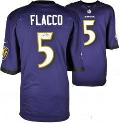 Joe Flacco Baltimore Ravens Autographed Nike Game Replica Purple Jersey
