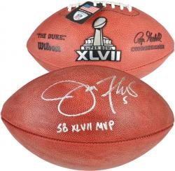 "Joe Flacco Baltimore Ravens Super Bowl XLVII Autographed Pro Football with ""SB 47 MVP"" Inscription - Mounted Memories"