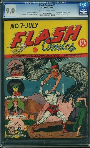 Flash Comics #7 Cgc 9.0 Oww 1st Moldoff Hawkman Cover Hawk's 2nd App. 0088439005