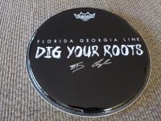 "Florda Georgia Line Dig Your Roots Signed Autographed 12"" Drumhead PSA Guarantee"