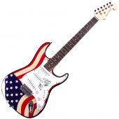 Florida Georgia Line X2 Autographed Signed USA Flag Guitar UACC RD COA AFTAL
