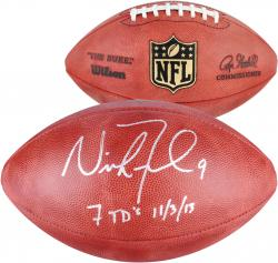 Nick Foles Philadelphia Eagles Autographed Duke Pro Football with 7TD 11/3/13 Inscription - Mounted Memories