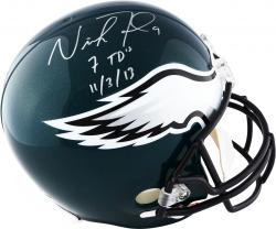 Nick Foles Philadelphia Eagles Autographed 7 TDs 11-3-13 Riddell Replica Helmet - Mounted Memories