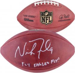 Nick Foles Philadelphia Eagles Autographed Duke Pro Football with Fly Eagles Fly Inscription - Mounted Memories