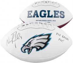 Nick Foles Philadelphia Eagles Autographed White Panel Football with Fly Eagles Fly Inscription
