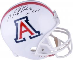 Nick Foles Arizona Wildcats Autographed Ridell Replica White Helmet with Go Cats Inscription - Mounted Memories