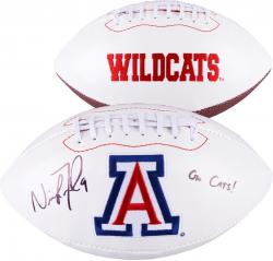 Nick Foles Arizona Wildcats Autographed White Panel Football with Go Cats Inscription - Mounted Memories