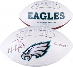 Nick Foles Philadelphia Eagles Autographed White Panel Football with Go Eagles Inscription - Mounted Memories