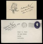 "Fontaine Fox (d.1964) Signed 3x5 Index Card and Sketch- ""Toonerville Folks"