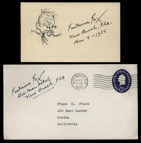 """Fontaine Fox (d.1964) Signed 3x5 Index Card and Sketch- """"Toonerville Folks"""