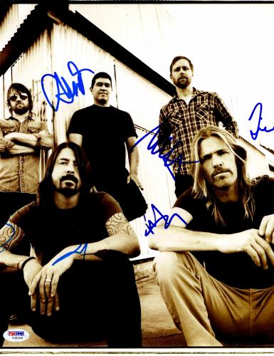"""Foo Fighters Autographed 11""""x 14"""" With 5 Signatures Vertical Complete Band Photograph #1 - PSA/DNA LOA"""