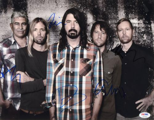 """Foo Fighters Autographed 11"""" x 14"""" With 5 Signatures Photograph - PSA/DNA LOA"""