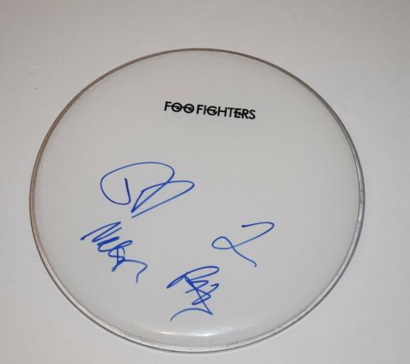 "Foo Fighters Band Signed Autographed 12"" Drumhead x4 Dave Grohl Hawkins + COA"
