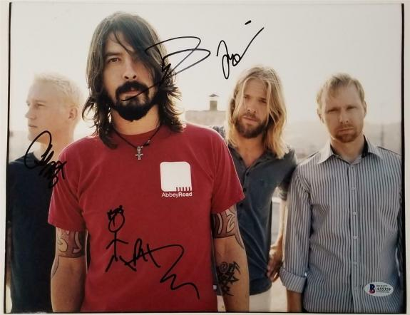Foo Fighters signed 11x14 Photo Grohl Hawkins Smear Shifflet ~ Beckett BAS COA