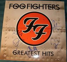 """Foo Fighters Signed Autograph Full Band """"greatest Hits"""" Album & Vinyl Dave Grohl"""
