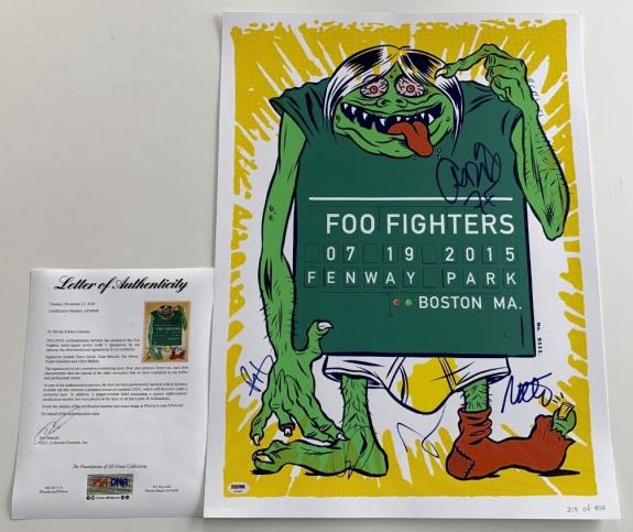 Foo Fighters X5 Dave Grohl Taylor Nate Pat & Chris Signed Fenway Park Poster Psa
