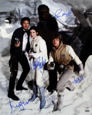 Ford, Fisher, Hamill & Mayhew Autographed Star Wars 16x20 Photo