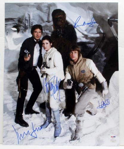 Ford, Hamill, Fisher & Mayhew Signed Star Wars Cast 16x20 Photo Psa/dna #ab14376