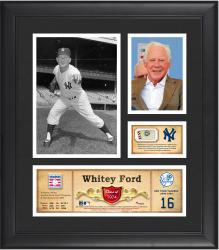 """Whitey Ford New York Yankees Framed 15"""" x 17"""" HOF Collage with Piece of Game-Used Ball"""