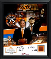 Travis Ford and Eddie Sutton Oklahoma State Cowboys Autographed Framed 15'' x 17'' Collage with Game-Used Ball - Limited Edition of 50