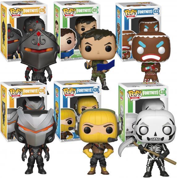 Fortnite - Black Knight, Highrise Assault Trooper, Merry Maruder, Omega, Raptor, Skull Trooper Funko Pop! Animation Bundle