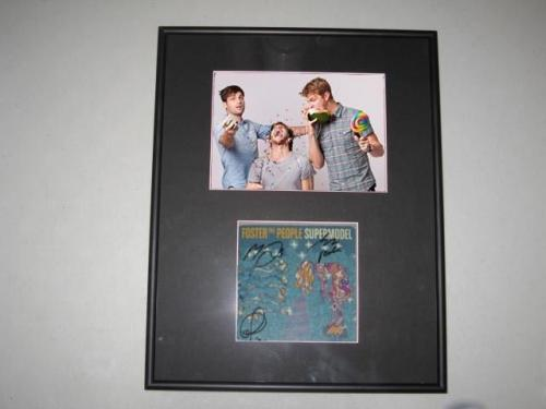 Foster the People Supermodel Group Signed Framed Matted CD Book 5x7 Photo