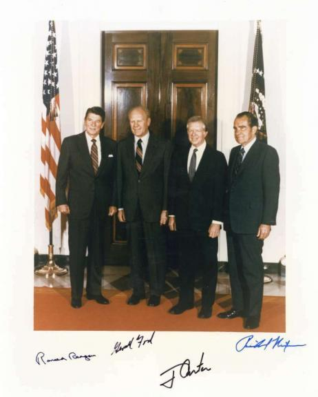 Four Presidents Signed Autographed 11x14 Photo Reagan Nixon Carter Ford PSA/DNA