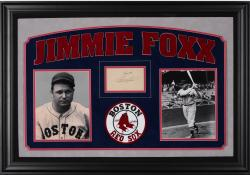 """Jimmie Foxx Boston Red Sox Deluxe Horizontal Framed Collectible with 2.5"""" x 3.5"""" Autographed Cut"""