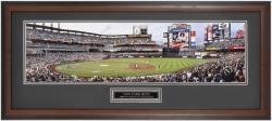 New York Mets 2009 First Pitch at Citi Park Framed Panoramic Photograph with Suede Matte - Mounted Memories