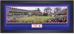 New York Mets 2009 First Pitch at Citi Park Framed Unsigned Panoramic Photograph with Suede Matte - Mounted Memories