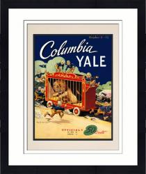 Framed 1948 Yale Bulldogs vs Columbia Lions 10 1/2 x 14 Matted Historic Football Poster - Mounted Memories